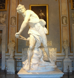 Bernini's David, biting his lip (instead of his tongue!)