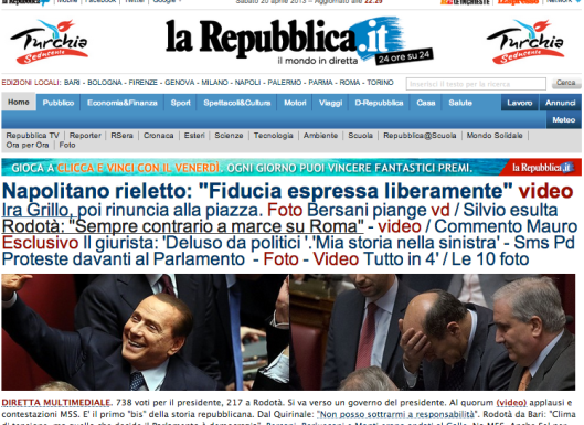 La Repubblica Website April 20, 2013