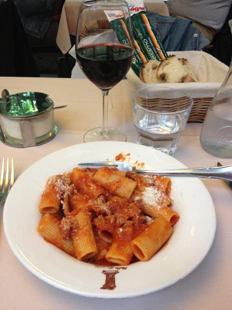 Rigatoni all'amatriciana at Trattoria Otello alla Concordia. You can check out their menu here.