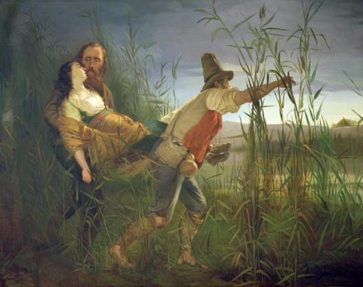 Garibaldi carrying his dying Anita through the swamps of Comacchio (oil on canvas), Bauvier, Pietro (1839-1927) / Museo del Risorgimento, Brescia, Italy / The Bridgeman Art Library
