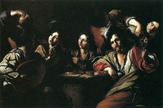 Manfredi's Tavern Scene with a Lute Player