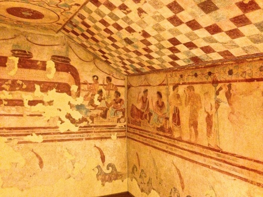 Rare fresco depicting an Etruscan symposium.