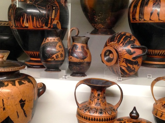Etruscan wine bowls and casks