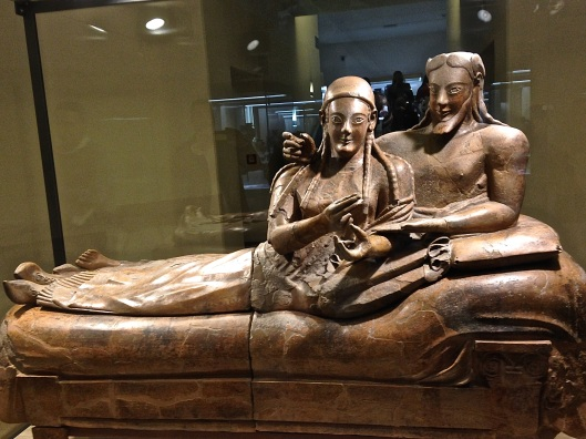 Etruscan couple's sarcophagus. Once upon a time, they held actual wine cups.