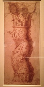 Borromini's sketch of one of the columns of the Baldacchino