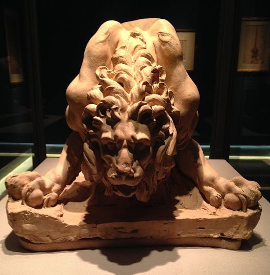 Clay model by Bernini of the lion for la fontana Quattro Fiumi