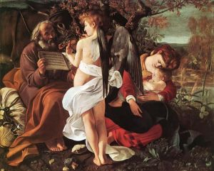 The Rest on the Flight to Egypt, by Caravaggio (1595-96), with Anna as the Virgin.