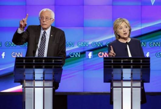 Hillary debating Bernie Sanders at the Democratic presidential debate, October 12, 2015.