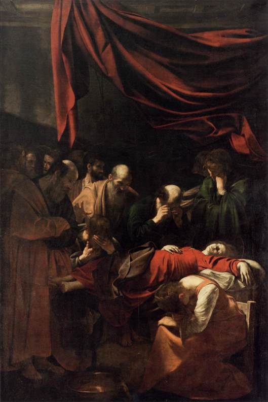 Death of the Virgin, perhaps with Anna's body as a model for Mary (1604).
