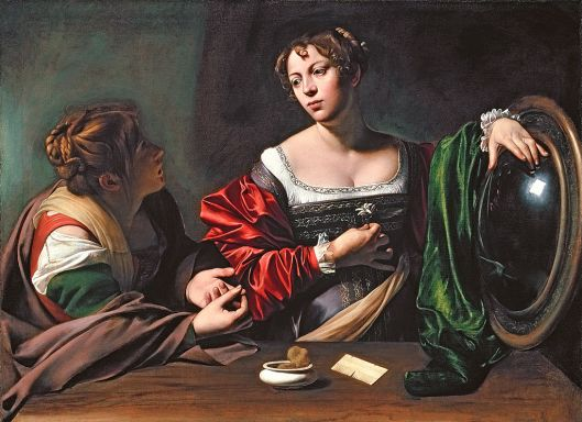 Martha and Mary Magdalene, by Caravaggio, with Anna (left) as Martha and Fillide as the Magdalene. (15TK)