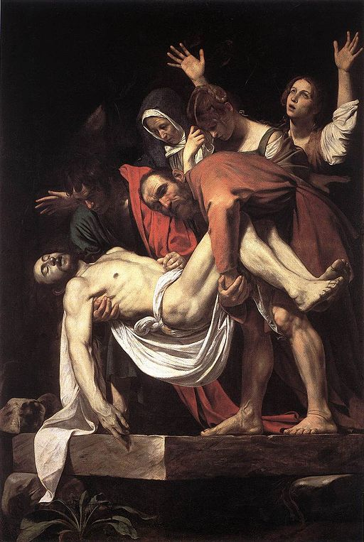 Caravaggio's The Entombment, with Fillide center and right.